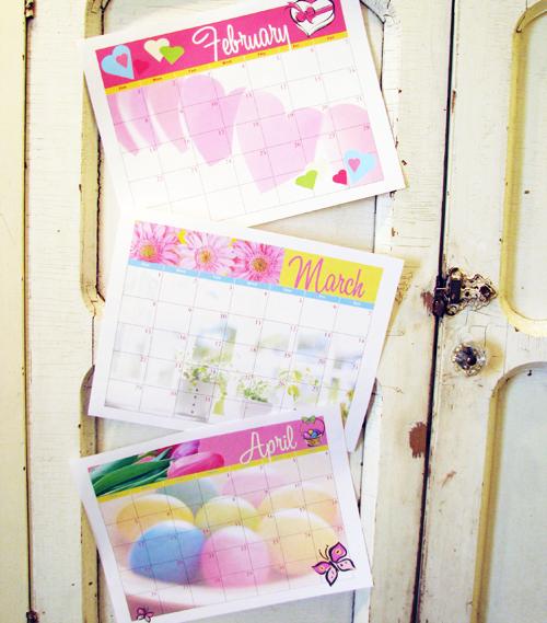 Calendars on door